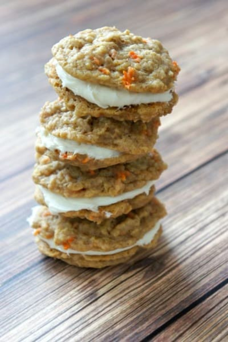 Recipe for Carrot Cake Mix Sandwich Cookies with Cream Cheese Frosting