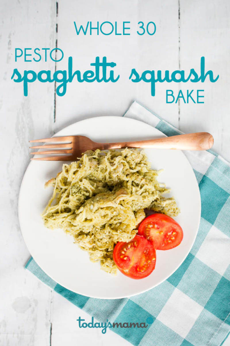 Whole30 Spaghetti Squash Pesto Bake