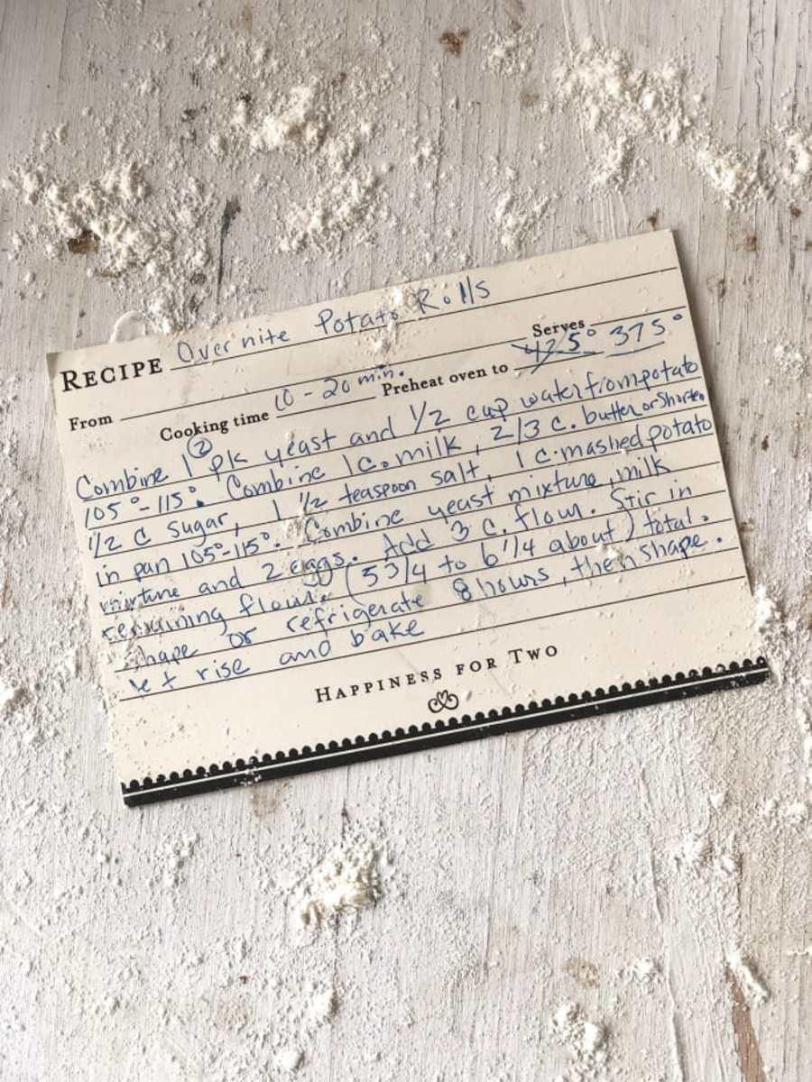 potato roll recipe card