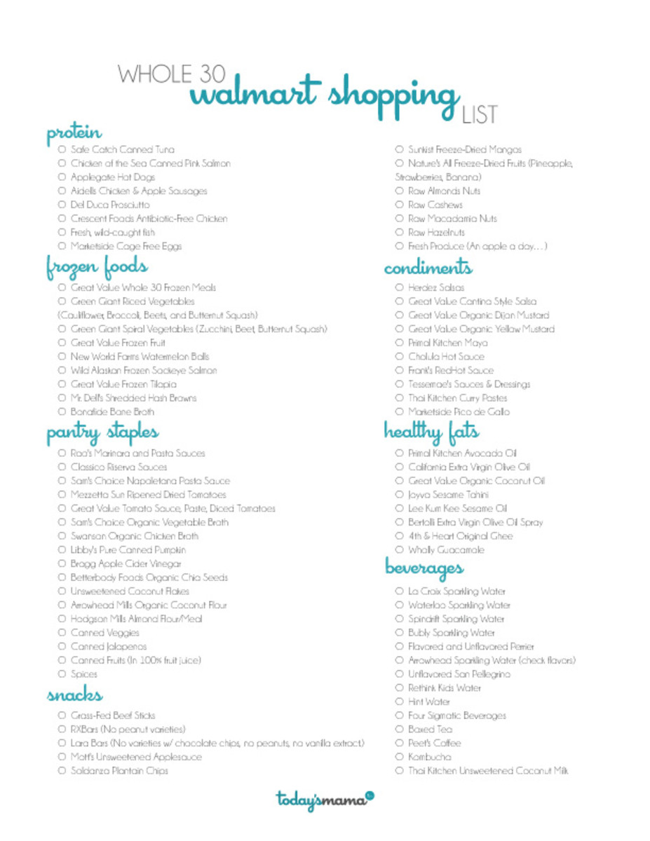 Walmart Whole 30 Shopping List Printable