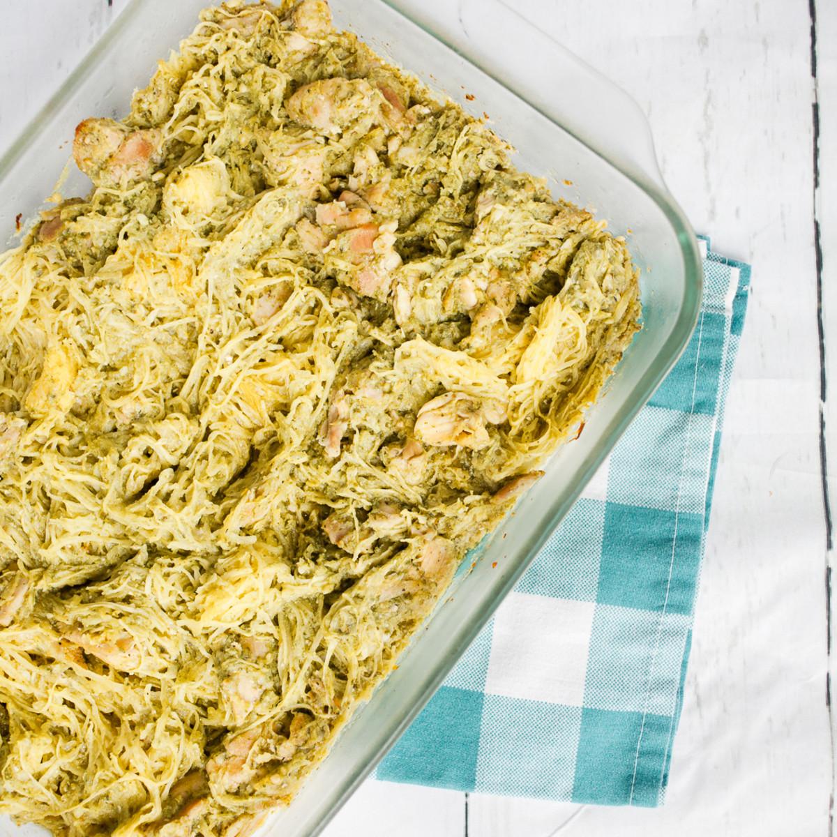 Easy Whole 30 Spagetti Squash Pesto Chicken Bake Recipe