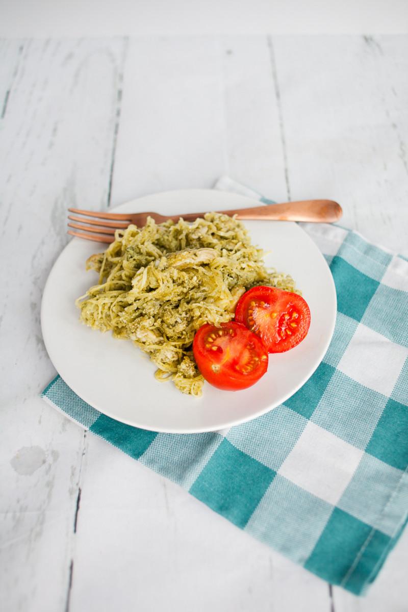 Whole 30 Spagetti Squash Pesto Chicken Bake Recipe-5