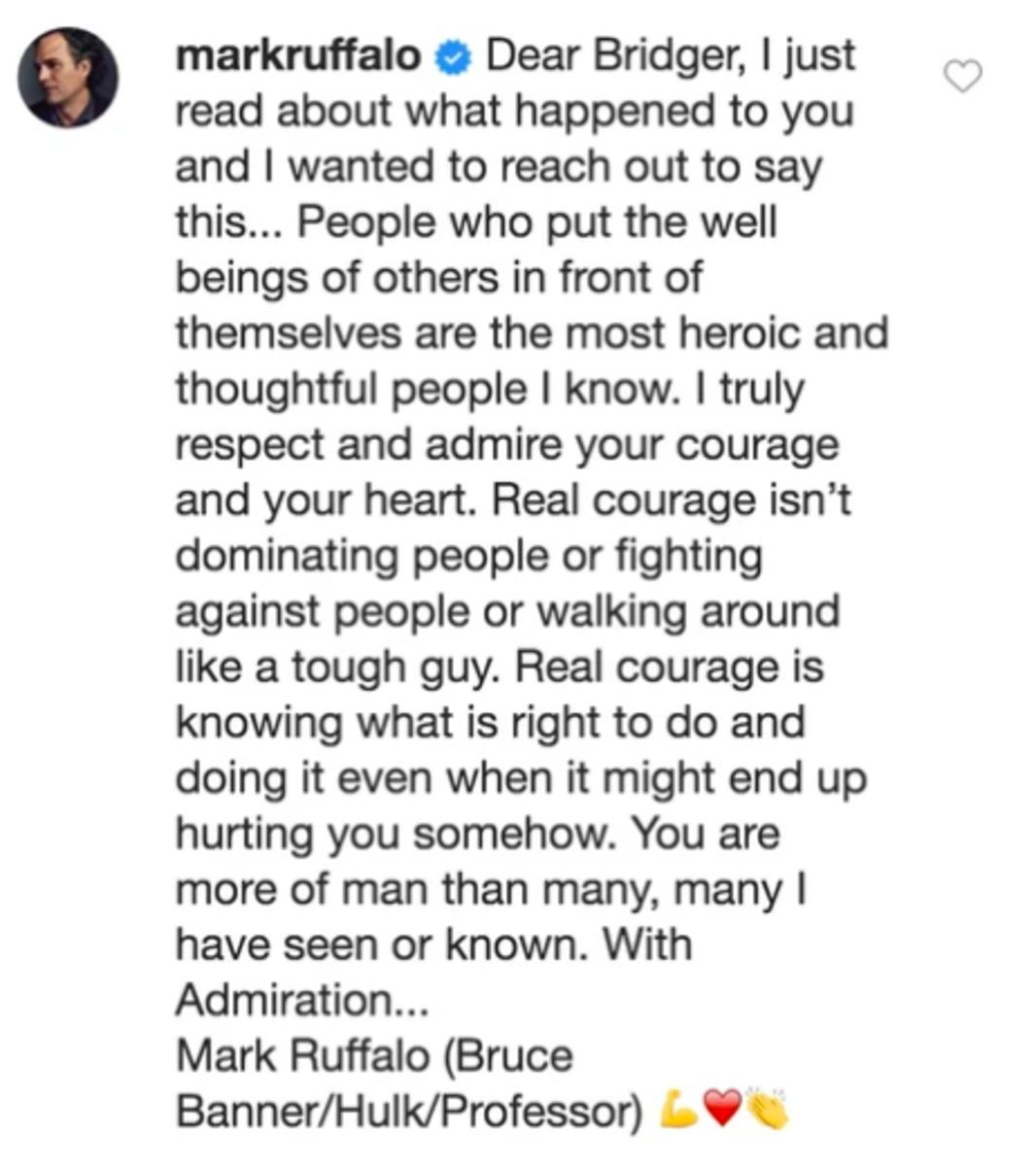 Mark Ruffalo Message to Bridger