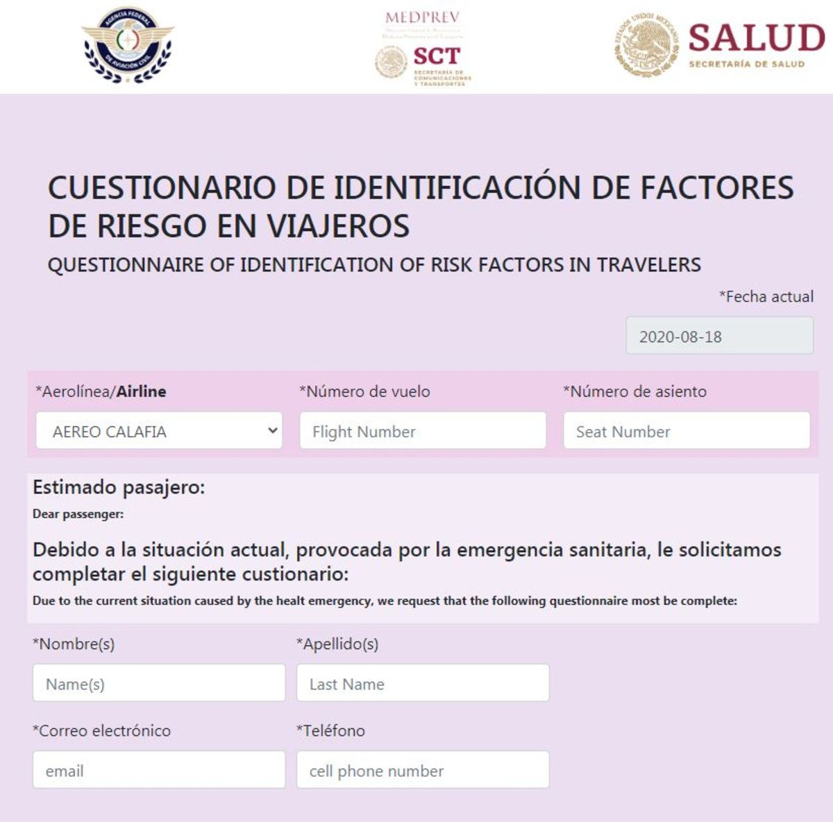Mexico Government COVID Form For Traveling
