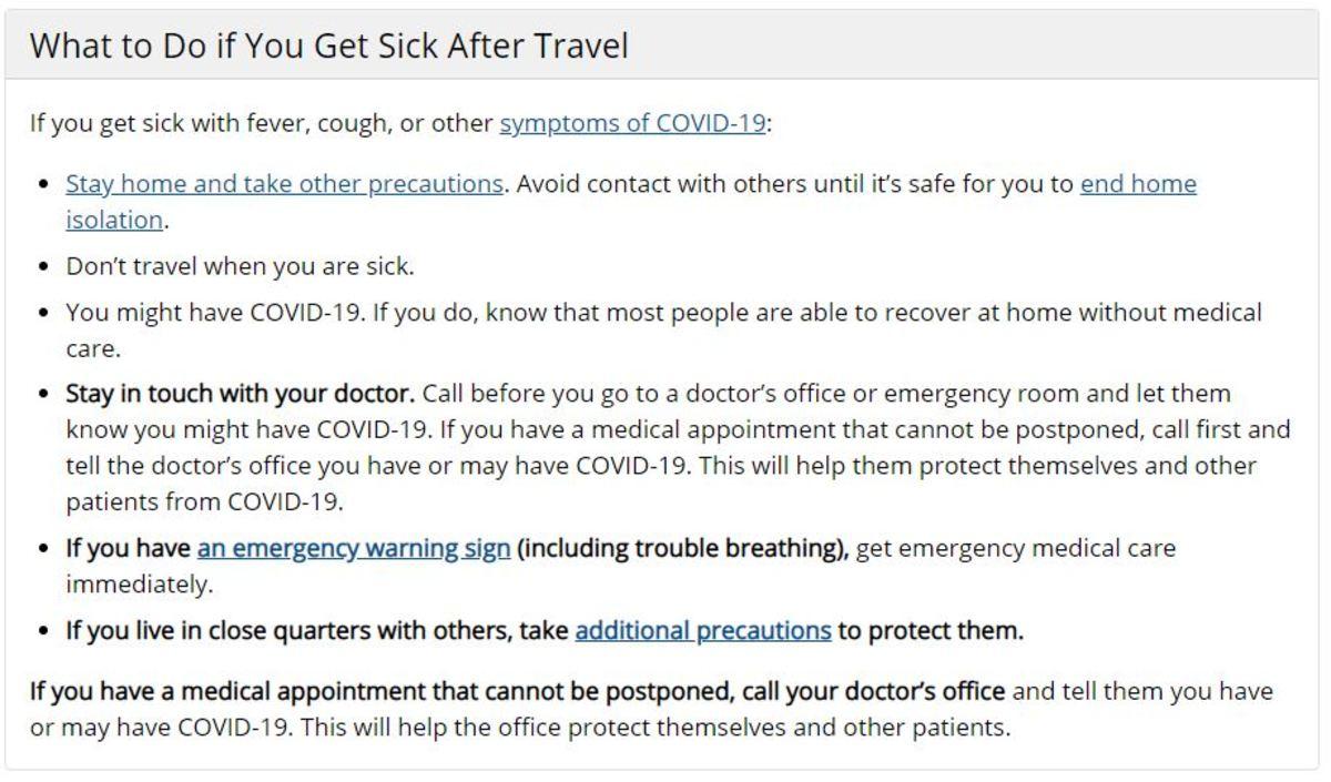 CDC self quarantine after mexico travel