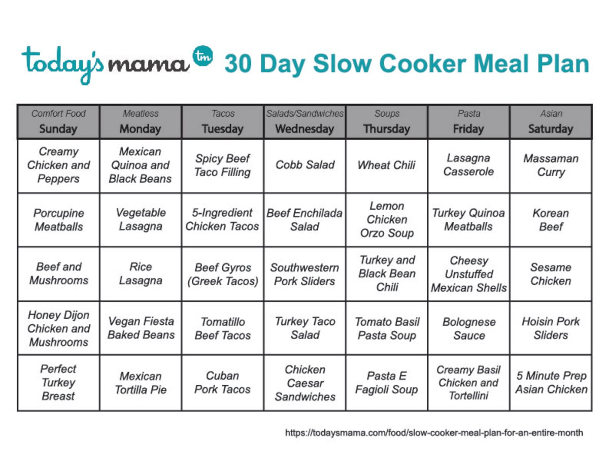 TodaysMama 30 Day Slow Cooker Meal Plan